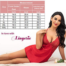 Load image into Gallery viewer, Avidlove Women Bridal Robe Satin Nightgown Lace Lingerie Set Sexy Babydoll V Neck Sleepwear Strap Chemise L, Red
