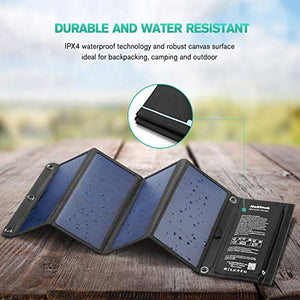 Solar Charger, Nekteck 28W Foldable Portable Solar Charger, Waterproof Camping Gear Sunpowered Charger with 2 USB Port for iPhone 12/11/Xs, iPad, MacBook, Samsung Galaxy, Tablet and Any USB Devices
