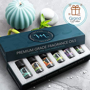 Hearth & Harbor Premium Fragrance Oil � Set of 6 Scented Oil for Soap Making, Candle Making, Incense, Potpourri & Aroma Diffuser - Lemongrass, Peppermint, Orange, Lavender, Eucalyptus, Tea Tree Scents In 10ml Glass Amber Bottles