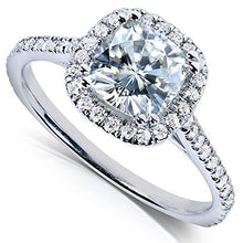 Load image into Gallery viewer, Kobelli Cushion-cut Moissanite Engagement Ring 1 1/3 CTW 14k White Gold, Size 8