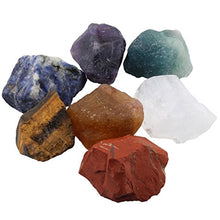 Load image into Gallery viewer, SUNYIK 7 Chakra Stones Set, Natural Rough Raw Stone for Tumbling,Cabbing,Crystal Healing Kits
