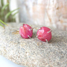 Load image into Gallery viewer, Natural Raw Ruby Stud Earrings - Pink Crystal in Italian Sterling Silver - For Bridesmaid, Bride, Girlfriend