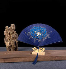 Load image into Gallery viewer, Oggo Chinese Fan, Hand Painted Color, Classical Bamboo Silk Folding Fan Hand Fan with Tassel and Gift Box for Party Decorations Dancing, Wedding, Birthday and Favors(Including Stand)