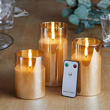 Cargar imagen en el visor de la galería, Lights4fun, Inc. Set of 3 TruGlow Gold Glass Flameless LED Battery Operated Pillar Candles with Remote Control