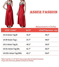 Load image into Gallery viewer, Asherbaby Women's Nightdress Satin Nightgowns Long Chemise Sleepwear Red XXL