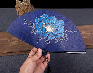 Oggo Chinese Fan, Hand Painted Color, Classical Bamboo Silk Folding Fan Hand Fan with Tassel and Gift Box for Party Decorations Dancing, Wedding, Birthday and Favors(Including Stand)