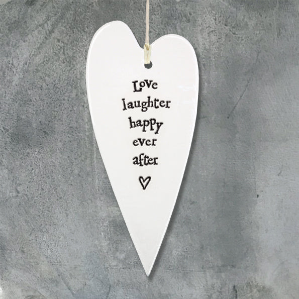 East of India Porcelain Long Heart - Love, laughter