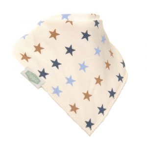Cream Bib With Blue & Beige Stars