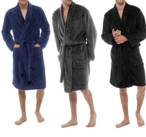 Mens Luxury Coral Fleece Dressing Gown