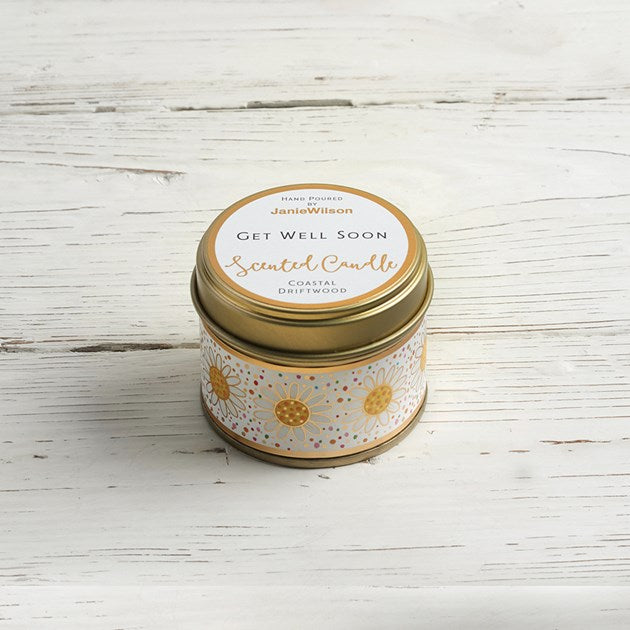 Get Well Soon Coastal Driftwood Mini Scented Candle tin