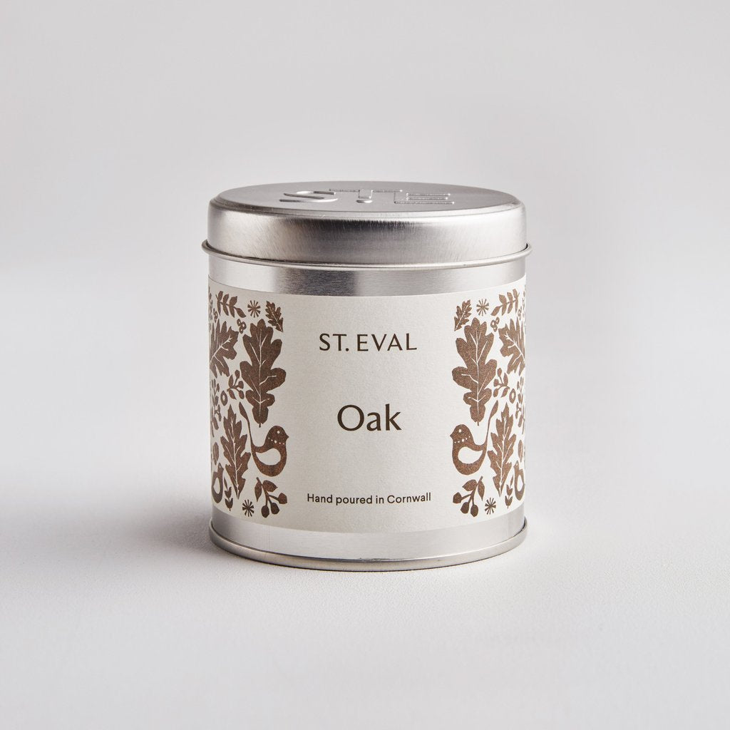 St Eval Folk Oak Scented Candle Tin