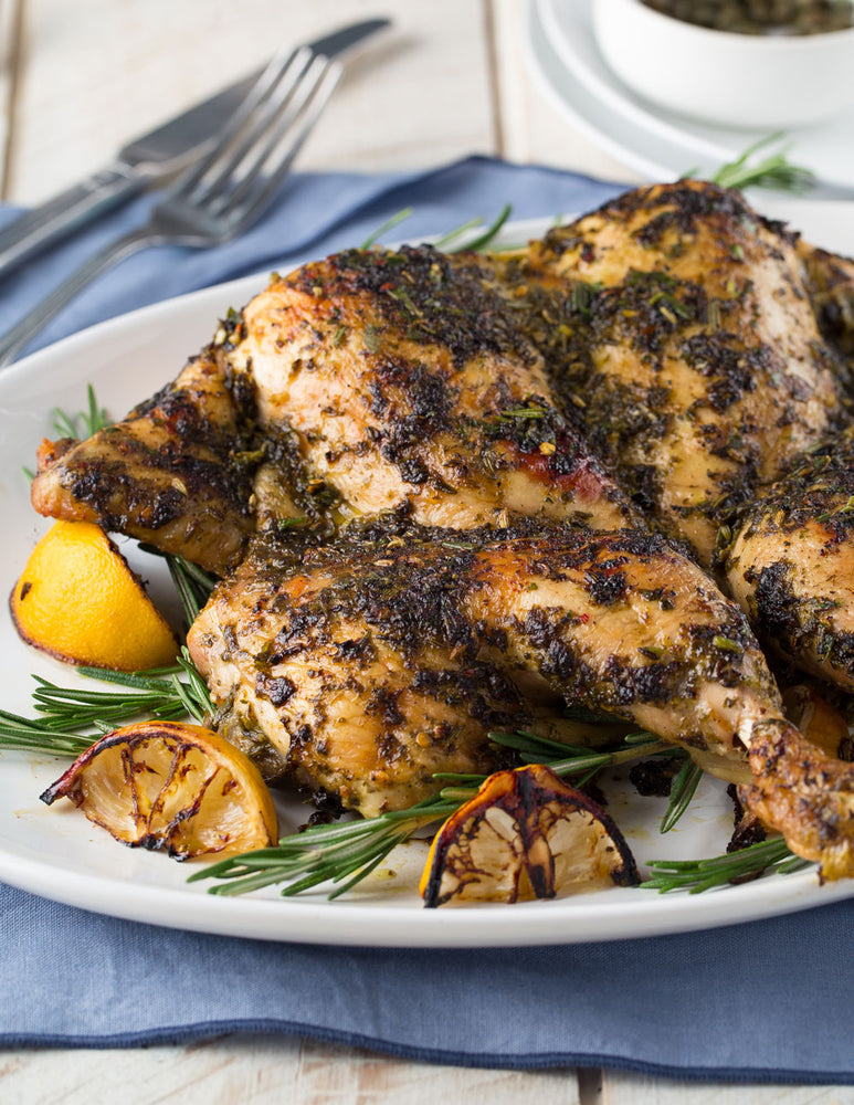 Lemon Herb Roasted Butterflied Chicken