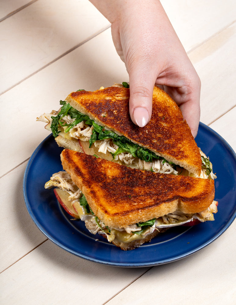 Grilled Cheese 'n' Chicken Sandwich with Apple & Arugula