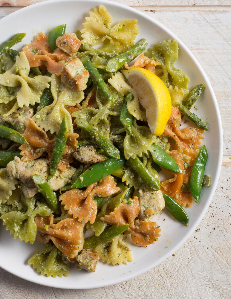 Chicken, Asparagus and Spring Pea Rainbow Pasta