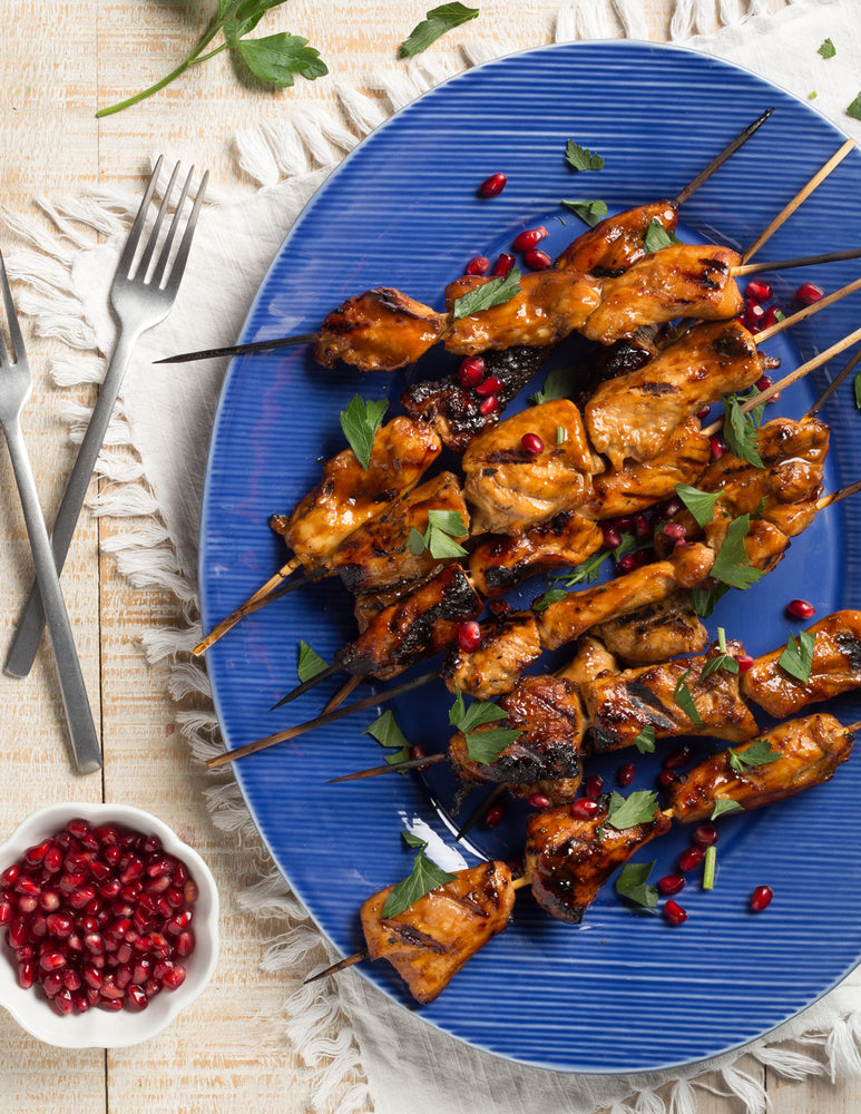 Pomegranate Date Glazed Chicken Skewers