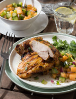 Grilled Chicken Thighs with Cucumber Melon Salsa