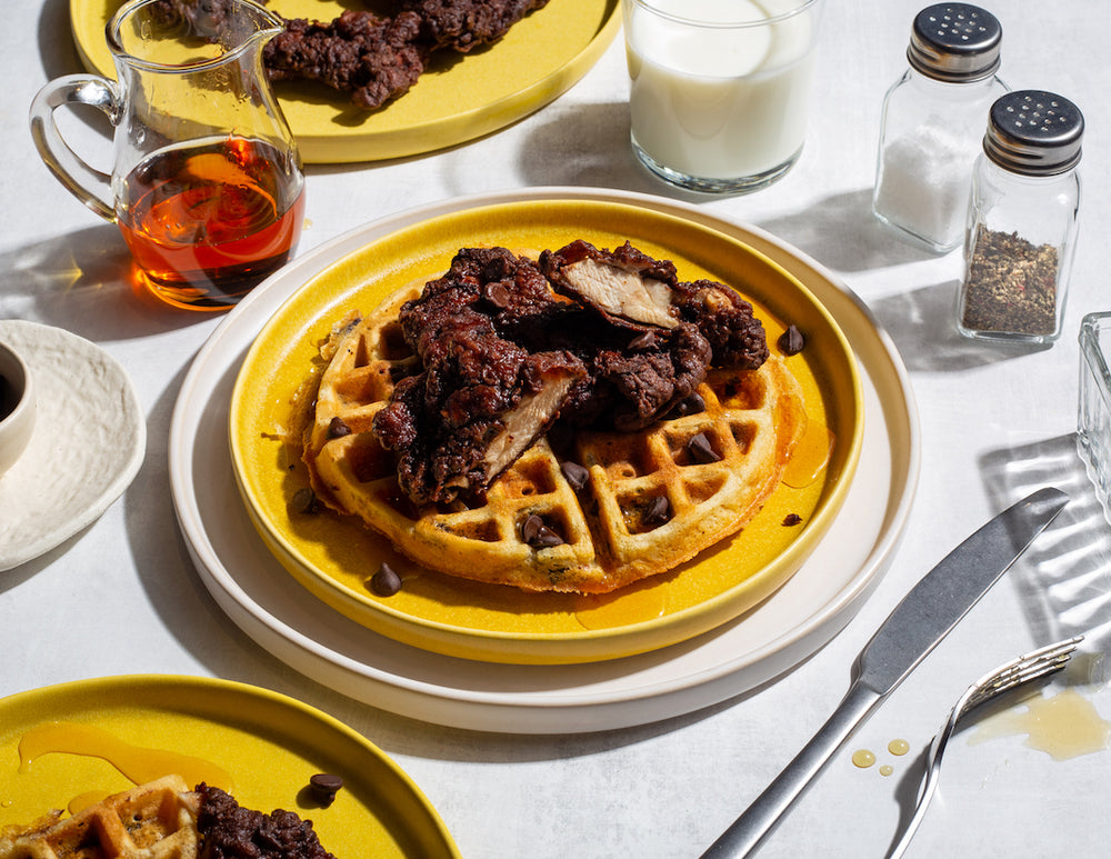 Cocoa Fried Chicken on Spicy Chocolate Waffles