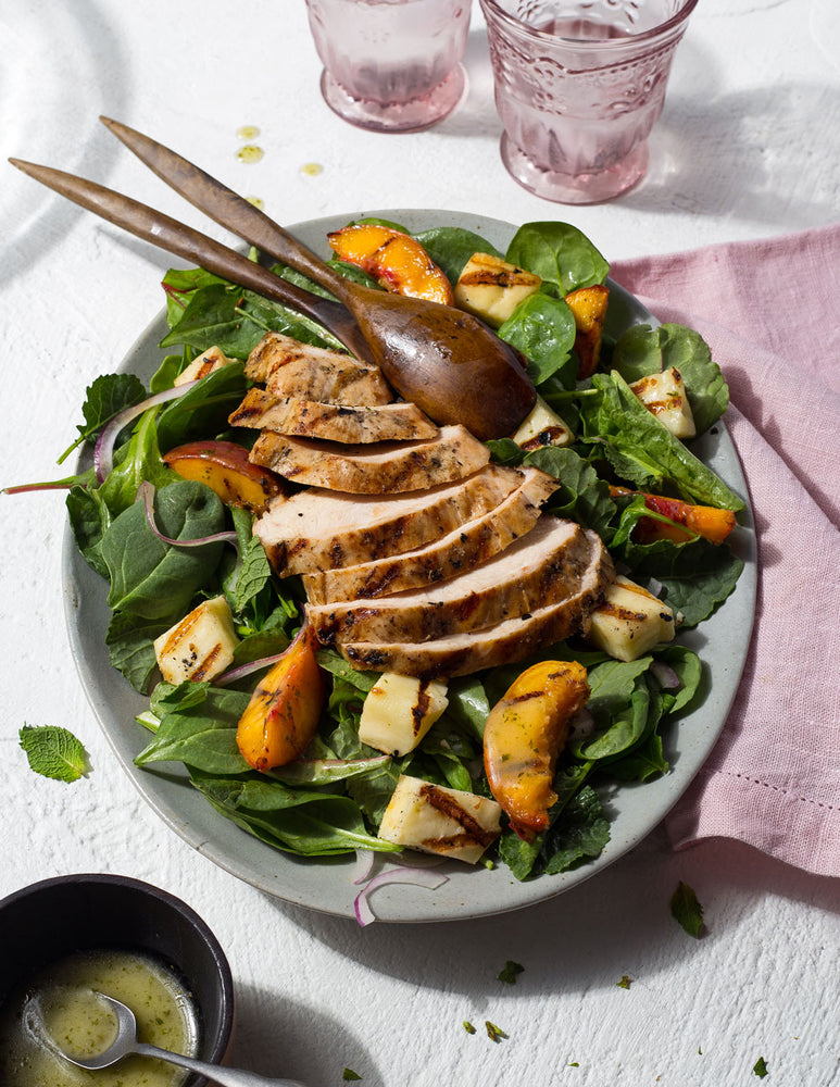 Grilled Chicken, Peach and Halloumi Salad