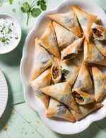 Chicken Phyllo Triangles with Walnuts, Dates and Feta Cheese