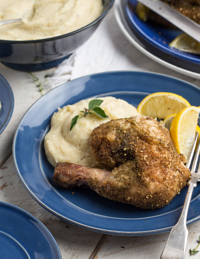 Za'atar Whole Roasted Chicken with Celery Root and Potato Purée