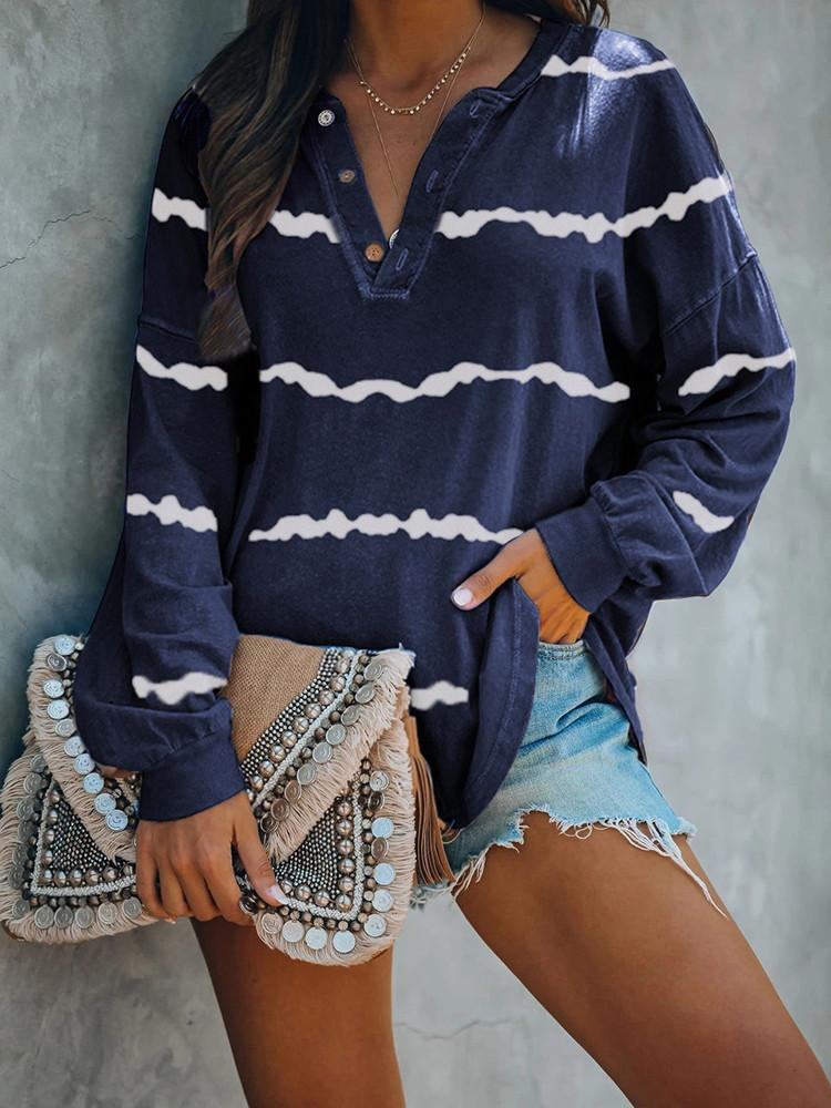 V-neck-Button-Tie-dye-Long-sleeve-Striped-T-shirt