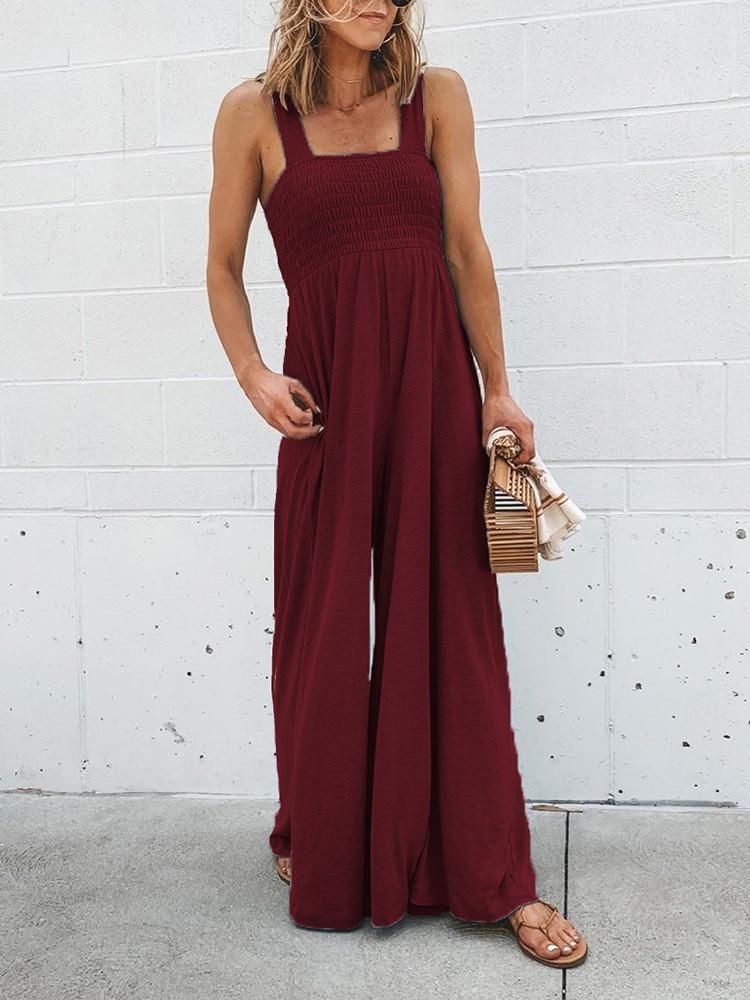 Stretchable Pocket Straps Shirred Wide Leg Jumpsuit with Special Gift:Beauty Blender - Amerisy
