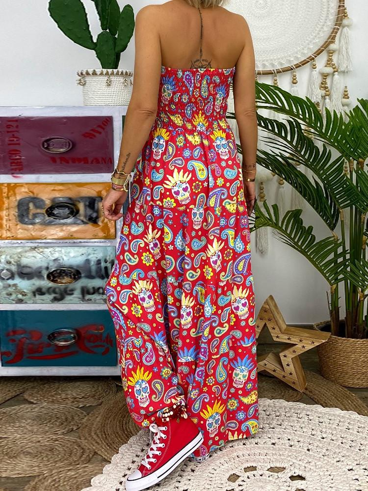 Floral Strapless Smocked Maxi Dress - Amerisy