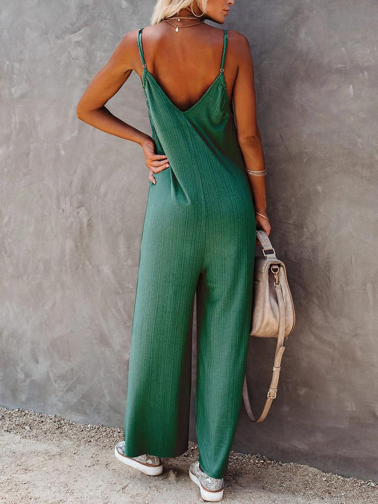 V-neck-Sleeveless-Sling-Backless-Jumpsuit