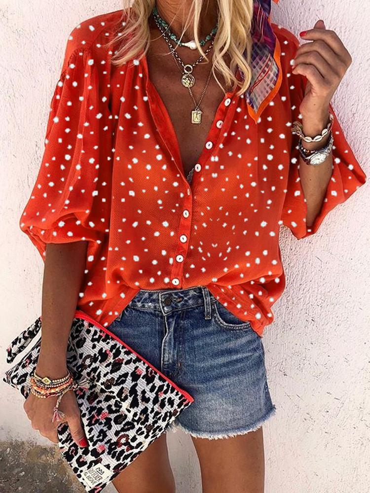 Spot-Print-Lantern-Half-Sleeve-Button-Shirt