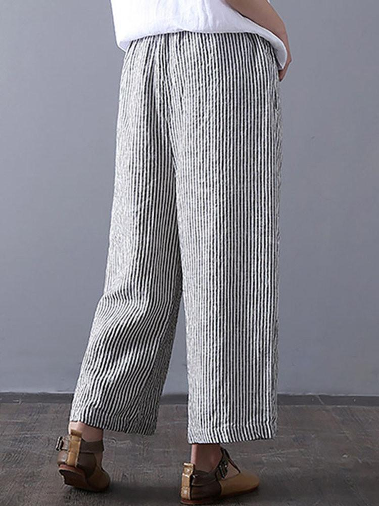 Stripe Print Pocket Wide Leg Pants - Amerisy