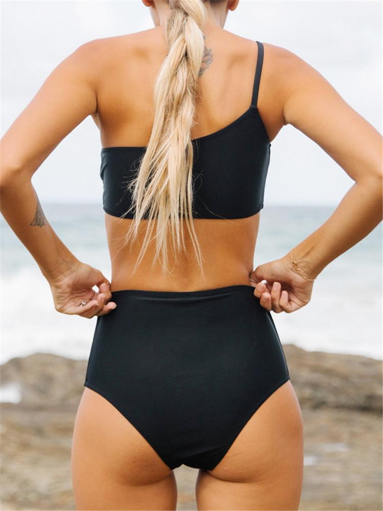 Solid-One-piece-High-Waist-Split-Bikini