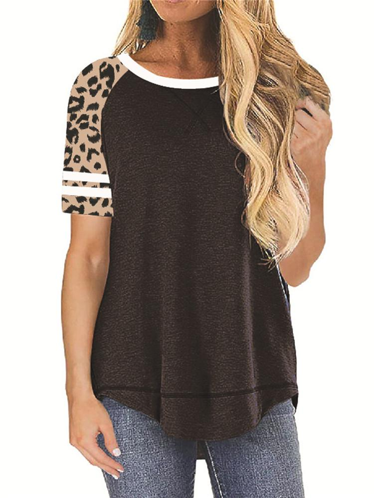 Leopard Short Sleeve Casual T-Shirt - Amerisy