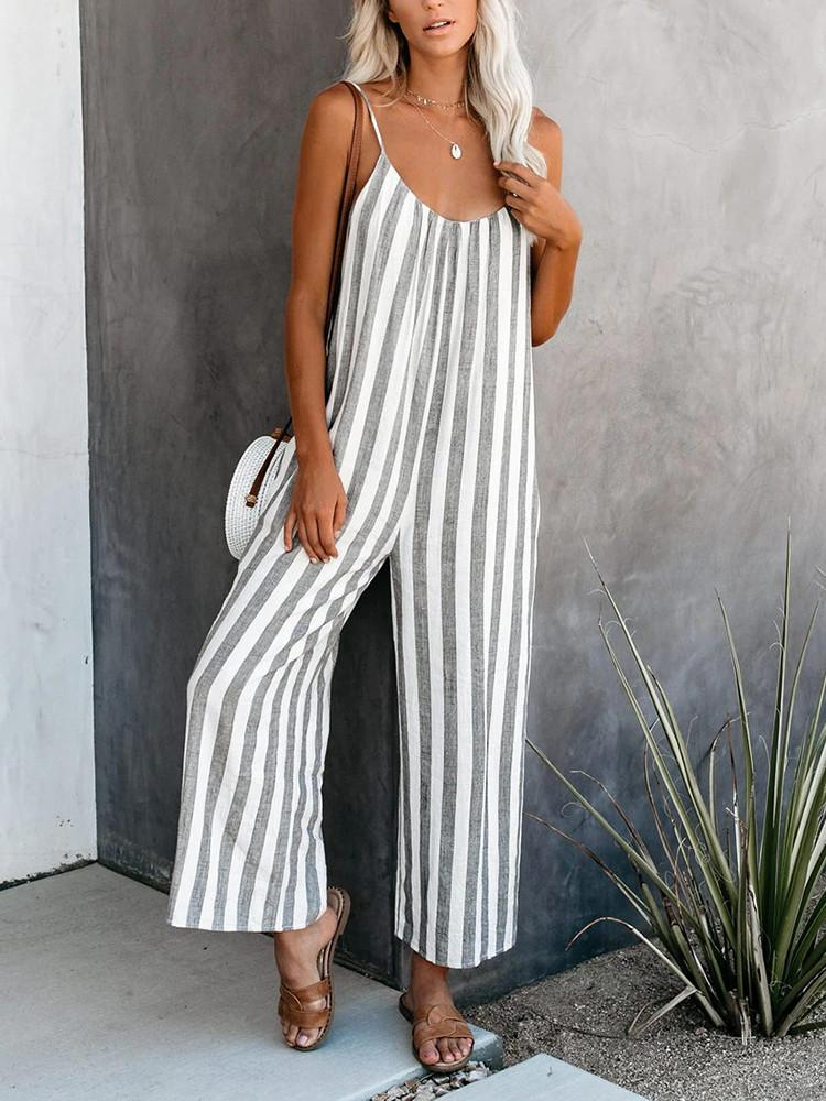 Suspender Striped Straight-leg Jumpsuit