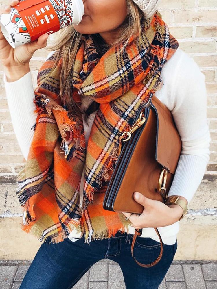 Fringe-Warm-Square-Checked-Shawl-Scarf