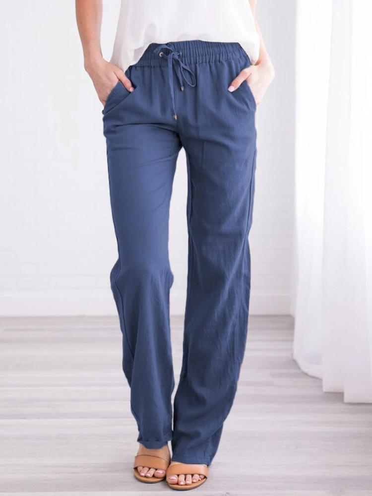 Cotton And Linen Comfy Pockets Pants - Amerisy