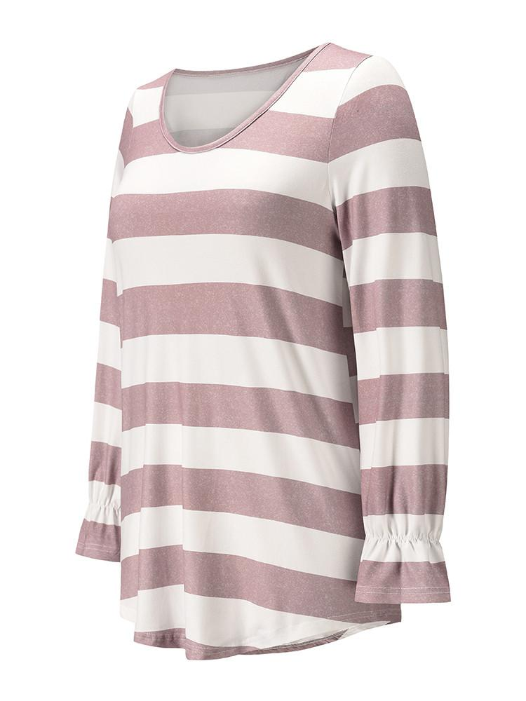 Contrast-Color-Stripes-Print-T-shirt