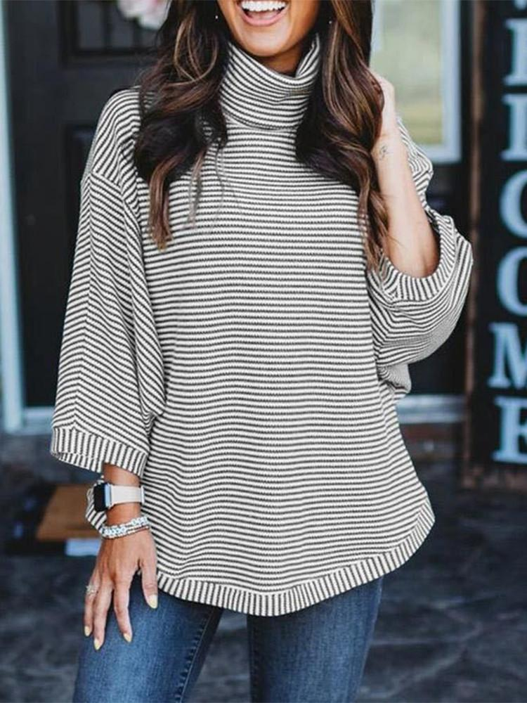 Cowl-Neck-Striped-Three-quarter-Sleeve-T-shirt