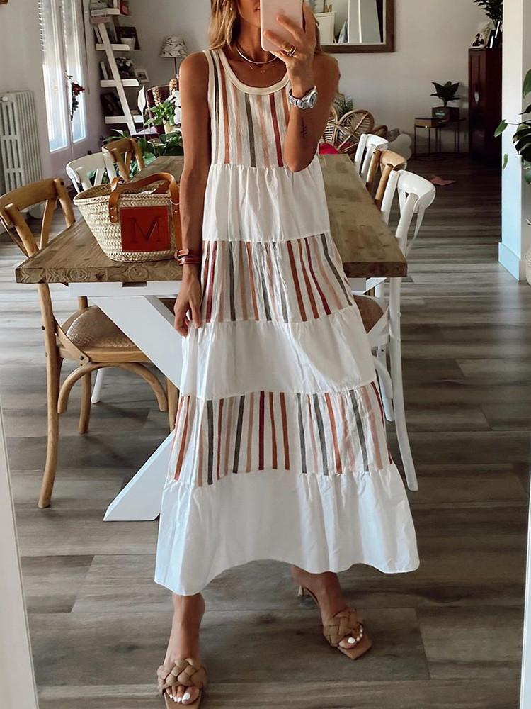 Casual-Round-neck-Sleeveless-Striped-Maxi-Dress
