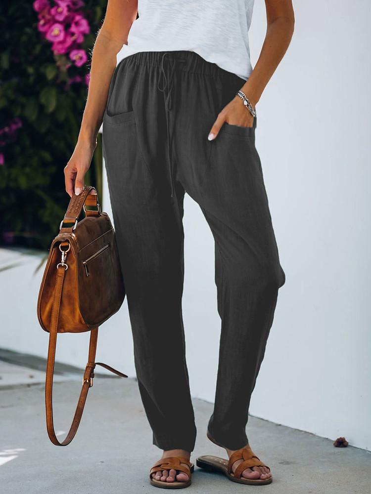 Solid Pocket Lace-up Loose Pants