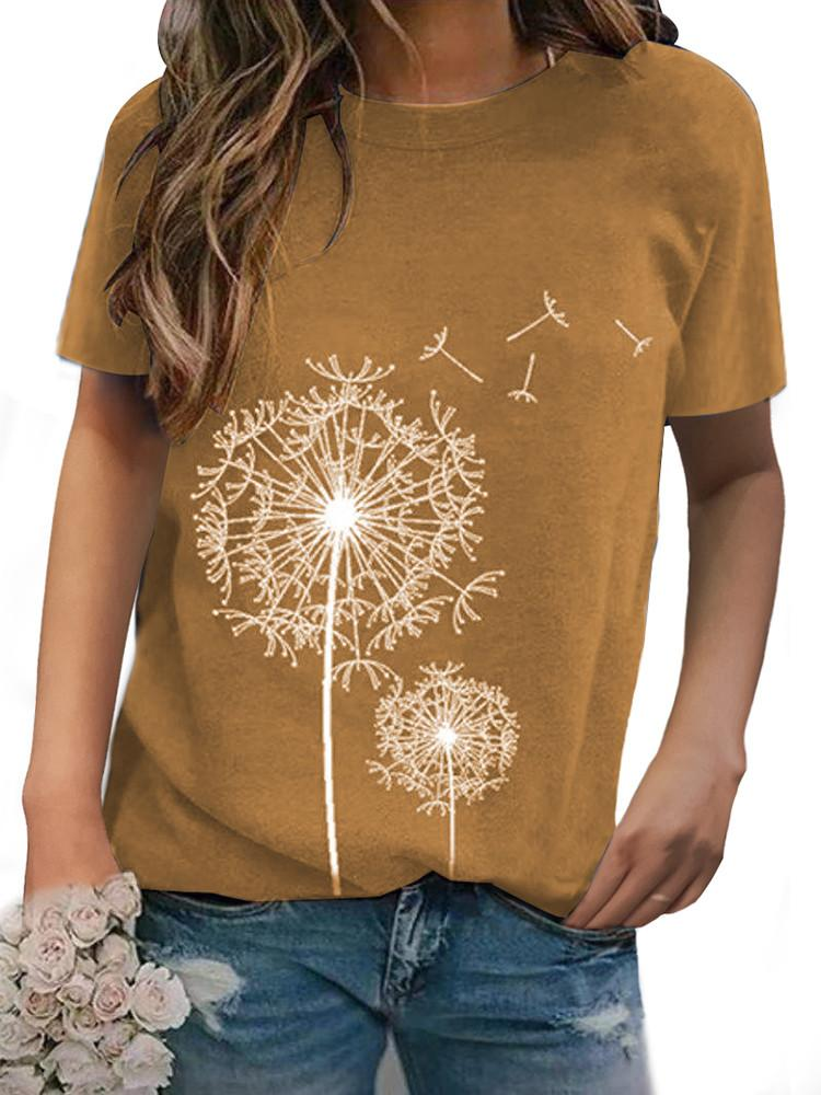 Dandelion Printed Crew Neck Short Sleeve T-shirt - Amerisy