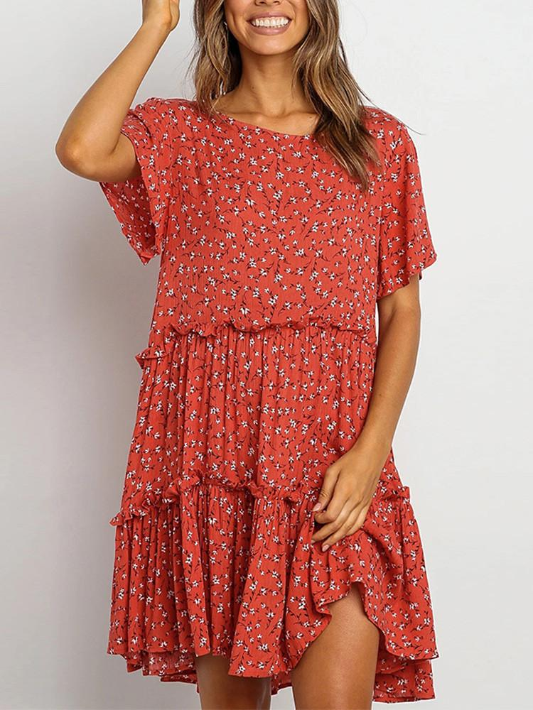 Floral-Round-Neck-Flare-Sleeve-Smock-Mini-Dress