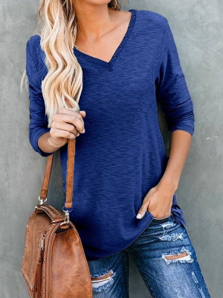 V-neck-Button-Neckline-Solid-Long-sleeve-T-shirt