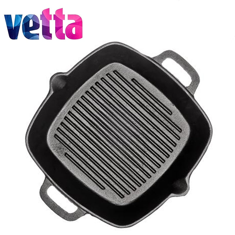 VETTA  GRILL CAST IRON Skillet Non-stick frying pan grill cast iron discount induction cooker oven 808-004