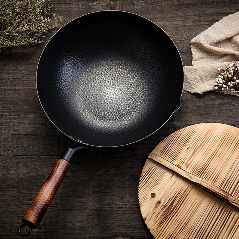 High Quality Iron Wok Traditional Handmade Iron Wok Non-stick Pan Non-coating Gas Cooker Cookware