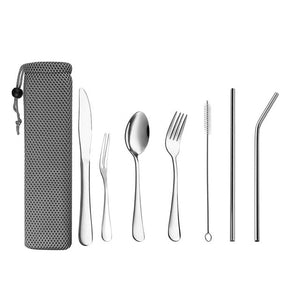 Dinnerware Set Travel Camping Cutlery Set Reusable Silverware with Metal Straw Spoon Fork Chopsticks and Portable Case