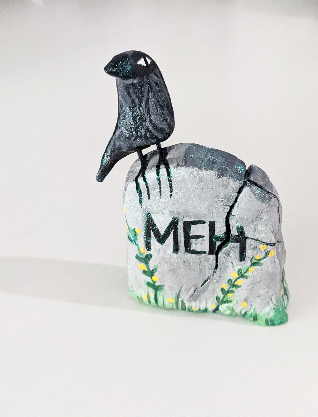 Raven on Grave Stone Figurine