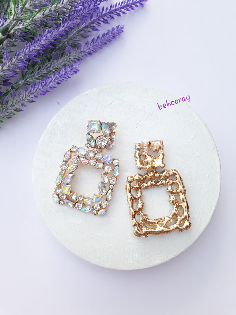 A Sassy Sparkle Earrings in White Crystals