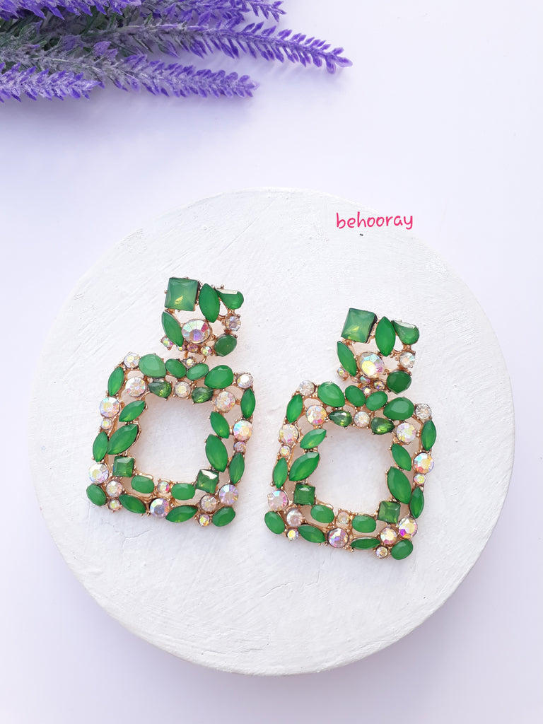 A Sassy Sparkle Earrings in Green