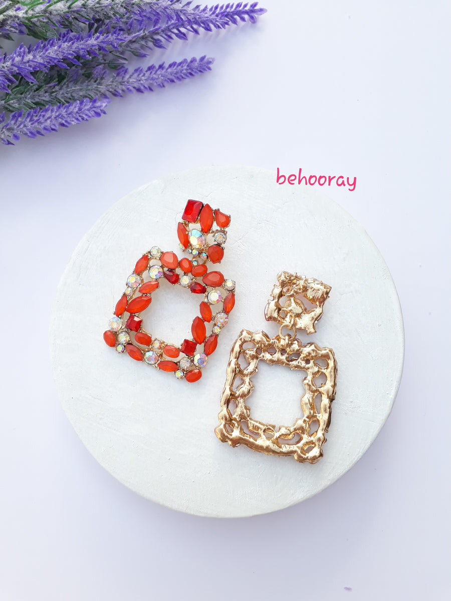 A Sassy Sparkle Earrings In Orange Red