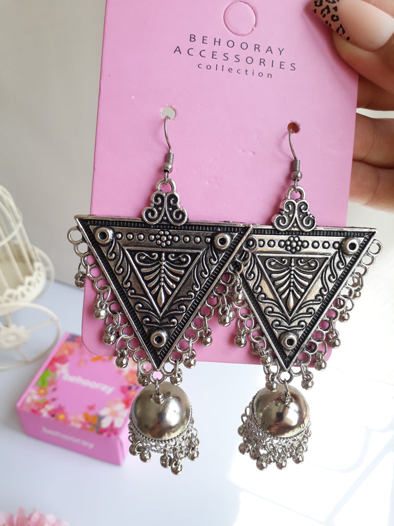 Bunjara Triangle Earrings In Silver